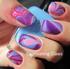 Blue Pink Purple Water Marble