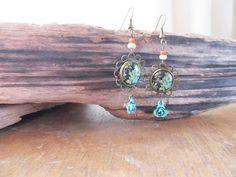 Boucle d'oreille antique fleuri noir et turquoise ,pendent d oreille, vintage corail et turquoise,retro de la boutique SharlyCreations sur Etsy