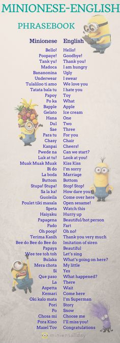 Are you trying to understand Minionese?? And you want to learn minionese?? Here is the solution! For more Visit our site: www.minionsallday.com
