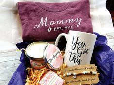 New Mom Gift Basket - Inspirational Gift Baskets for New Mother - Mommy Est. 2019 - New Mom Gift Box – Inspirational Gift Baskets – Mommy Est. 2019 Best Picture For DIY decoratin - First Mothers Day Gifts, Gifts For New Moms, New Baby Gifts, Mother Gifts, Happy Mothers, New Mom Gift Basket, Mother's Day Gift Baskets, Christmas Gift Baskets, Baby Girl Gift Baskets