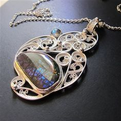 Argentium Silver filigree Ammolite and Labradorite pendant with Sterling Silver chain - Jewelry Making Daily