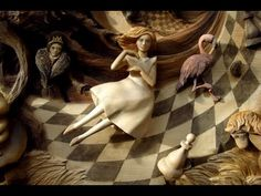 """3d wood carved picture """"Alice in Wonderland"""""""