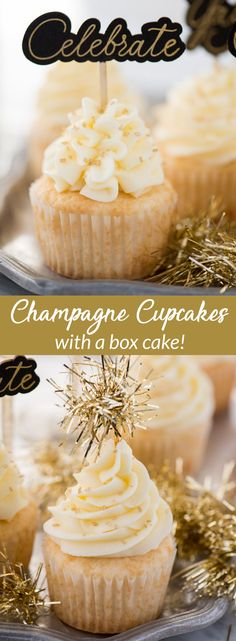 100 Best New Year's Eve Party Ideas This easy champagne cupcake recipe with champagne frosting is a New Year's Eve dessert you won't want to miss! How to make champagne cupcakes using a box cake. Champagne Recipe, Champagne Cupcakes, New Year's Desserts, Christmas Desserts, French Desserts, Christmas Games, Plated Desserts, Christmas Eve, New Year's Cupcakes