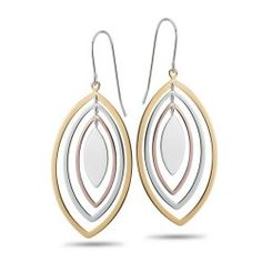 Sterling Silver Fashion Earrings. Multiple tear drop shapes, three colors , pink-tone, silver, gold-tone, create an updated classic. Chic, Affordable. Part of our Soho collection.