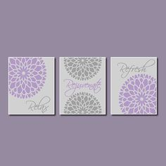 Modern Floral Flower Flourish Purple Gray Artwork Set Of 3 Trio Prints  Relax Rejuvenate Refresh Wall