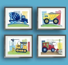 Construction truck art, busy builder bedding art, boy nursery kids art prints, dump truck, bulldozer art, trucks art prints by terezief on Etsy https://www.etsy.com/listing/129199398/construction-truck-art-busy-builder