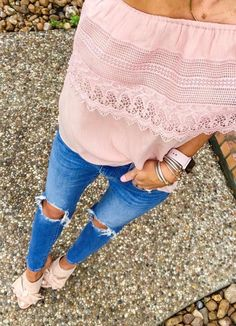 #summer #outfits  The Cutest Bow Mules For #TuesdayShoesday + My Crochet One Shoulder Top Is On Sale For $23! 😍💗 This Denim ($88) Is Back In Stock! // Shop This Outfit In The Link