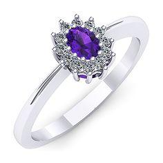 Inel de logodna realizat din aur alb, cu ametist si diamante