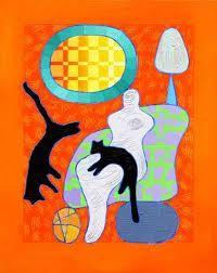 Pia Myrvold - Stavanger, Norway Painting Collage, Paintings, Altered Books, Scandinavian Design, Cattle, Cat Art, Vivid Colors, Stavanger Norway, Moose Art