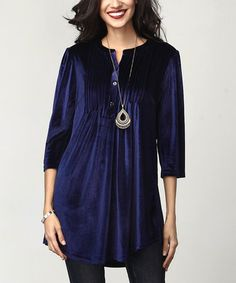 Another great find on #zulily! Navy Velvet Notch Neck Pin-Tuck Tunic #zulilyfinds