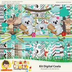 🐨💟 Lançamento 💟🐨 ➡Kit digital Coala 🛒www.acriativo.com/loja #acriativo #digitalpaper #digitalkit #papeldigital #personalizados #lembrancinhas #silhouette #silhouettecameo #coala #koala #safari