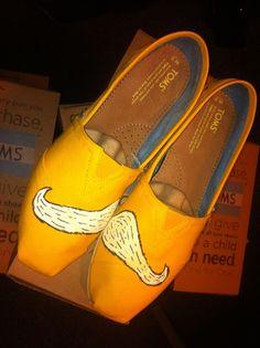 TOMS shoes // Hand painted // Moustache feet