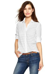 *Got it!* Fitted boyfriend eyelet-stripe shirt Product Image