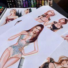 Illustrations of JLo by Paul Keng Croquis de mode Fashion Design Sketchbook, Fashion Design Drawings, Fashion Sketches, Drawing Fashion, Moda Fashion, Fashion Art, Croquis Fashion, Fashion Illustration Dresses, Fashion Illustrations
