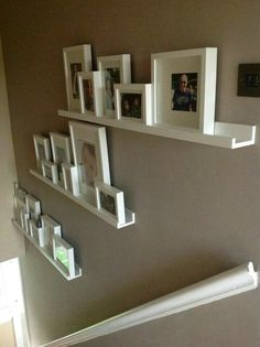 Finished stair gallery using Ikea Ribba rangeSuper idée pour décorer les escaliers ! Finished stair gallery using Ikea Ribba range Picture Shelves, Wall Shelves, Ledge Shelf, Picture Frame, Ikea Picture Ledge, Picture Walls, Stair Gallery, Gallery Walls, Diy Casa