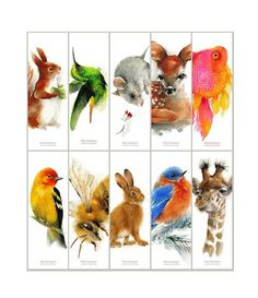 Animal Bookmarks - Set of 10 different bookmarks from original watercolors. Mouse Deer, Free Printable Bookmarks, Pink Fish, Red Squirrel, Hare, Blue Bird, Giraffe, Watercolors, Handmade Gifts