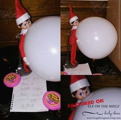 Can you blow a bubble bigger than Elf? Try with this Bubble Tape. We want you! Send us your Funny, Easy, and Creative Elf on the Shelf Ideas. Hundreds of ideas found on Frugal Coupon Living.