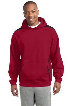 Sport-Tek Sleeve Stripe Pullover Hooded Sweatshirt. ST265