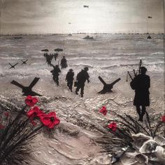 'Poppies and Pipes' by Jacqueline Hurley War Poppy Collection Remembrance painting Poppy Appeal Second World War painting