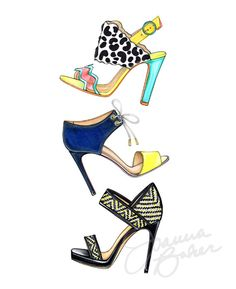 Été sandales Trio Fashion Illustration Art Print 8 par joannabaker