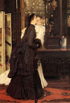 James Tissot, 1869: Young Ladies Looking at Japanese Objects     Artist: James Tissot  Completion Date: 1869