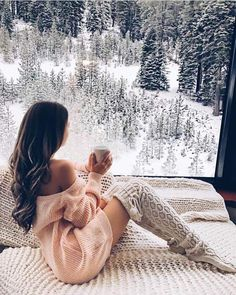 ⛄️ Bella Montreal ⛄️ Insta: bella.montreal || Pinterest & WeHeartIt: bella4549 || Pretty girl in winter socks and pink sweater, forest, trees, snow