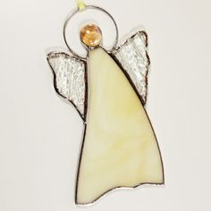 Stained Glass Suncatcher Angel 6 inch tall, cream and clear color glass, silver color metal, handmade Stained Glass Angel, Stained Glass Ornaments, Stained Glass Suncatchers, How To Make Ornaments, Silver Color, Tiffany, Glass Art, Angels, Drop Earrings
