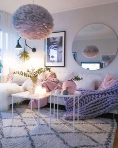 lavender, pink and white