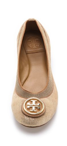 Nude ballerina flats by Tory Burch found on Nudevotion.