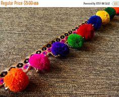 15% OFF Colourful Pom Pom Trim, Beaded Trim, Embroidered Trim, Belt Trim, Tassel Trim - 2 yards