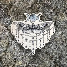 Moth Tattoo - Moon Tattoo - Moth Temporary Tattoo - Goddess Tattoo - Beautiful Moth Accessory For Any Occassion - Tattoo DIY 16 Tattoo, Tattoo Mond, Owl Neck Tattoo, Butterfly Thigh Tattoo, Back Of Neck Tattoo, Cute Tattoos, Beautiful Tattoos, Body Art Tattoos, Moon Tattoos