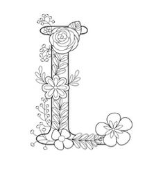 Letter L coloring book for adults Royalty Free Vector Image Stress Coloring Book, Adult Coloring Book Pages, Coloring Books, Embroidery Letters, Hand Embroidery Patterns, Quilt Patterns, Coloring Letters, Alphabet Coloring, Hand Lettering Alphabet