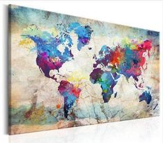 Tableau World Map Colourful Madness Artgeist Wall Art Pictures, Canvas Pictures, Pictures To Paint, World Map Canvas, World Map Wall Art, Canvas Wall Art, Wall Art Prints, Canvas Prints, Canvas Paintings