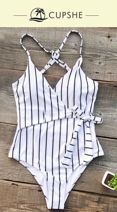 Timeless stripe design! This one-piece features chic tie at waist and cross at back, easily provides a great fit and fashion look. Send out your glamour from poolside to the beach! Free shipping & Shop now!