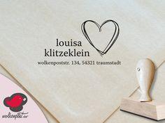 "Adressstempel ""Louisa/Louis"" Herz Stempel von Wolkenpost-de auf DaWanda.com"