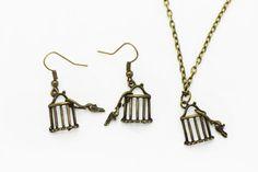 Birdcages Dangling Earrings Birds Necklace by boysenberryaccessory