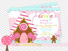 Gingerbread House Birthday Party Invitation, Cute Christmas Birthday Party Invite, Sale
