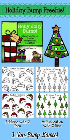 These Christmas Bump games are a fun way for partners to practice math facts during the holiday season!  One game each for addition and multiplication fluency--free in the download!