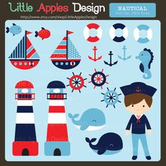 Nautical Clip Art / Nautical Clipart / by LittleApplesDesign, $5.00