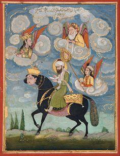 Portrait of the Prophet Muhammad riding the buraq steed