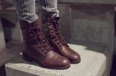 dark brown combat boots for the fall time is a must have for us teens <3