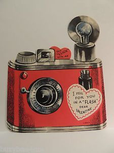 "vintage flash bulb camera "" you click with me "" valentine die cut card My Funny Valentine, Vintage Valentine Cards, Vintage Greeting Cards, Valentine Day Crafts, Valentine Decorations, Valentine Heart, Vintage Holiday, Vintage Postcards, Happy Valentines Day"