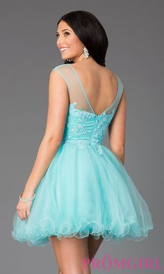 Image of Beaded Lace Short Prom Dress Style: DQ-8881 Back Image