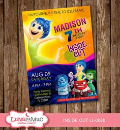 INSIDE OUT invitation Card Party Invite Birthday Card by Lunalumuc