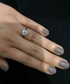 White gold solitaire and rose gold eternity band
