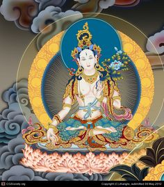 White Tara, zhangle Buddhism Symbols, Buddha Buddhism, Buddha Art, Tibetan Buddhism, Tibet Art, Vajrayana Buddhism, Thangka Painting, Mandala Drawing, Krishna Art