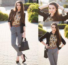 Get this look: http://lb.nu/look/6479238  More looks by Mirella Szymoniak: http://lb.nu/mirellaszymoniak  Items in this look:  Blackfive Bag, Zara Trousers, Zara Heels, Choies Shirt, Choies Blazer