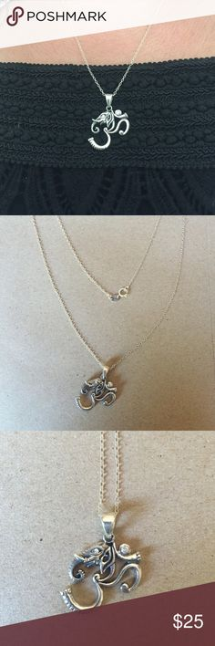 """Sterling Silver Elephant Om Necklace Silver Elephant Om Pendant on 18"""" Sterling Silver Chain. Ladies, give me a good home!!! Jewelry Necklaces"""