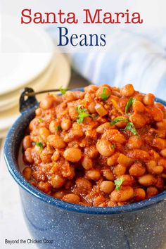 Santa Maria beans are made with pinquitos or pink beans. This delicious seasoned bean dish is perfect for outdoor barbecues or parties. These beans are packed full of flavor from bacon, ham, tomatoes, chili peppers and other seasonings. Real Food Recipes, Cooking Recipes, Chicken Recipes, Cabbage Recipes, Spinach Recipes, Turkey Recipes, Potato Recipes, Bread Recipes, Crockpot Recipes