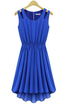 Blue Sleeveless Hollow Shoulder Pleated Dress - Sheinside.com